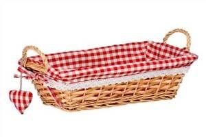 Rectangular Bread Basket Red Willow Rustic Design Gingham Lining Natural