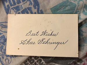 1976 GPC Autographed Postcard Charles Gehringer HOF Baseball Detroit Tigers