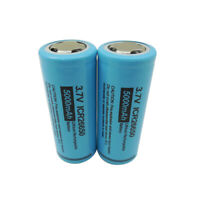 2pcs 26650 3.7V  Li-ion Rechargeable Batteries 5000mAh For LED Flashlight Torch