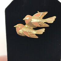 Vintage Gold Tone Enamel Double Sparrow Brooch Pin J1B6