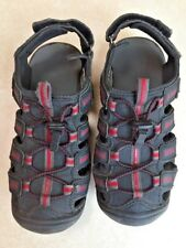 Pre-owned but not much wear, boy's black, red Khombu sport sandals, size 12
