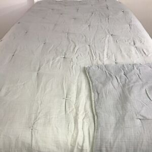 """Pottery Barn Quilt King Tufted Comforter Solid Gray Bedspread Soft Soft 92""""X 98"""""""