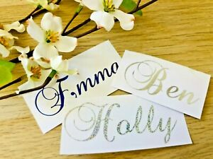 Custom Personalised Name wine Glass Vinyl Decal Gin Script Sticker Text Label