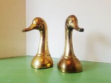 """Pair of Vintage Brass Duck Bookends -Very Heavy 8"""" tall"""