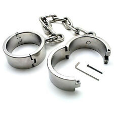Steel Plated Heavy Duty Ankle cuffs Restraint Shackle With Chain Male Bondage