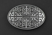 OVAL FLORAL PATTERN CELTIC KNOT METAL BELT BUCKLE  SCOTTISH GAELIC