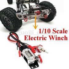 Silver 1/10 Scale Electric Wired Winch All Metal for RC SCX10 Racing Car Crawler