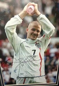 Rare - David Beckham  - Large Signed Photo - England No 7 - Framed - C O A 2001