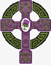 "Celtic Cross + THISTLE Scottish Flower 6.5"" x 8"" Mini Cross Stitch Kit 14 Count"
