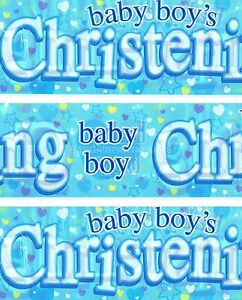 HAPPY CHRISTENING BOY PACK OF 3 BANNERS BLUE WALL DECORATIONS (EX) 05