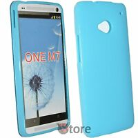 Cubierta De La Caja para HTC One M7 Silicone Gel TPU Azul