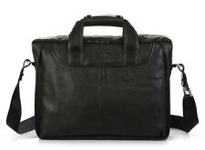 Hot Genuine Leather Black Men Shoulder Bag Messenger Bag Tote Laptop Briefcase 1