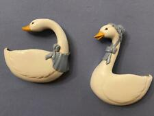 Home Interiors Homco Vintage Country Geese Wall Planter Plaques - Set of Two