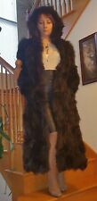100% REAL BOWN FOX FUR COAT WITH HOOD Custom Made in Europe size L/XL