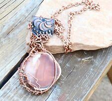 Agate Geode Pendant Heavy Copper Chain Necklace Shamanic Natural Unisex Men Mans