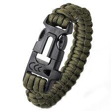 Tactical Outdoor Survival Bracelet Flint Fire Starter Scraper Sifflet Edc #73