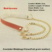 Chain & Genuine LEATHER Shoulder Crossbody Handbag Purse Strap Replacement SALE