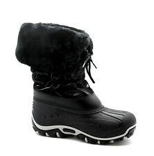 John Lewis Infant Kids UK 11 to 12 Black Fur Trim Zip Up Winter Snow Boots