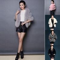Luxury Women With Pocket Faux Fur Coat Waistcoat Cloak Bolero Warm Winter Fluffy