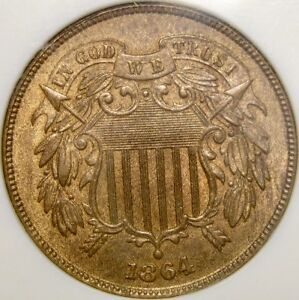 1864/1864 TWO CENT PIECE VERYRARE REPUNCH DATE NGC MS 64 RB OLDSLAB VP-007 RPD-3