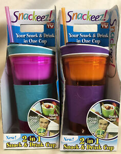 (2) Snackeez 2-in-1 Portable Drink/Snack Cup 16oz  - New - Bright Colors