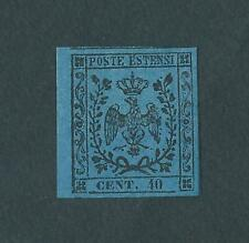 MODENA 1852-FRANCOBOLLO DA 40cent.AZZURRO SCURO -SENZA PUNTO DOPO LE CIFRE