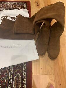 Stuart Weitzman Lowland Boots Brown Walnut Suede Size 5.5m