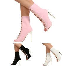 Party Patternless Peep Toe Slim Heels for Women
