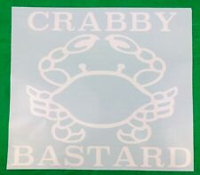 Crabby Bastard Crab Golf Cart Car White Vinyl Decal New Gift