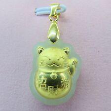 Pure Solid 24k Yellow Gold Grade A Natural Hetian Jade Fortune Cat Pendant