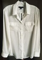 NWT Banana Republic Blouse Soft White Dotted Swiss 100% Polyester Long Sleeves