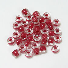 Crystal lined Red 100pc Czech Glass 9x6mm Crow Pony Bead Free Shipping