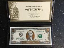 2003-A  22K Gold Leaf $2 Two Dollar Bill Federal Reserve Note Uncirculated