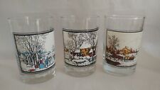 """Arby's 1981 Currier & Ives Drinking Glasses) """"American Farm"""" Set of 3"""