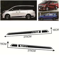 2Pcs Universal Car SUV Door Side Skirt Vinyl Graphic Decal Stripes Sticker Black