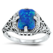 LAB BLUE FIRE OPAL ANTIQUE DESIGN .925 STERLING SILVER RING SIZE 4.75, #146