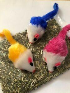 Three Colourful Catnip Mice, Mixed Random Designs, Plus Free Bag Strong Catnip