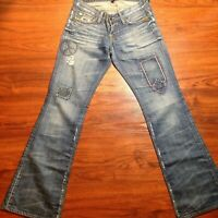 Lucky Brand Lil Maggie Low Rise Slim Fit Boot Leg Jeans Size 0 / 25 Peace Design