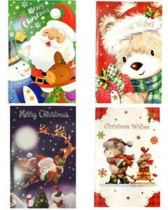 42pc Christmas Traditional Gift Cards Xmas Kids Cute Foil Card w Envelope Bulk