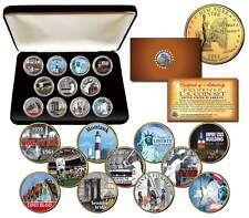 NEW YORK STATE COLLECTION Colorized NY Quarters US 11-Coin Set Gold Plated w/Box