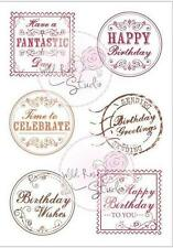 New Wild Rose Studio Clear cling rubber stamp BIRTHDAY greeting set Free us ship