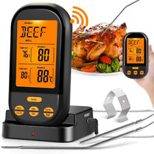 Wireless Remote Dual Probe Digital Meat Food Thermometer Set for BBQ Oven Grill