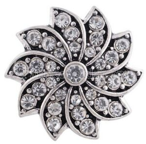 Silver White Rhinestone Swirl Flower 20mm Snap Charm Jewelry For Ginger Snaps