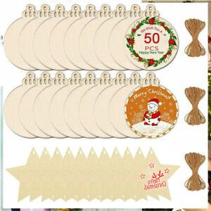 50-100X Wooden Bauble Blank Hanging Ornament Christmas Tree Pendants DIY Craft