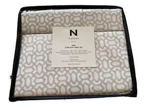 Natori King Sheet Set with Pillowcases White Tan Oval Diamond Ultra Soft Modern