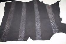 Italian Goatskin leather skins hides skin VINTAGE BLACK SNAKE PRINT 6sqf #A1968