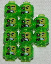 LEGO LOT OF 10 NEW TRANSPARENT GREEN MINIFIGURE MONSTER HEADS WITH RED EYE