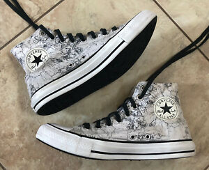 Converse All Star Chuck Taylor White Black Floral Print High Tops Womens Size 10
