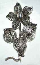 Vintage Sterling Silver Filigree 5 Petal Single Flower with 3 Leaves Pendant Pin