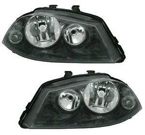 SEAT IBIZA + CORDOBA 6L BLACK HEADLIGHTS HEADLAMPS 2002 - 2007